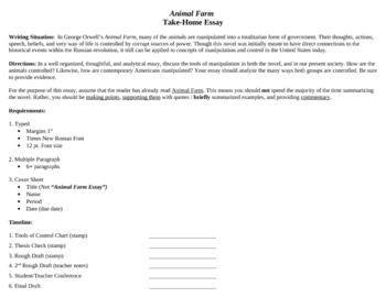 Animal Farm Character Essay