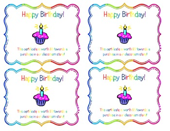 Birthday & Star Gift Certificates for Classroom Stores