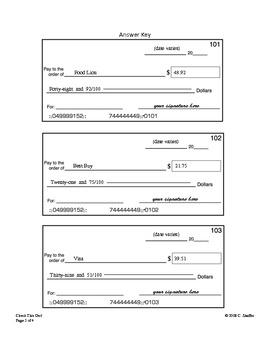 Math Writing Checks Worksheets