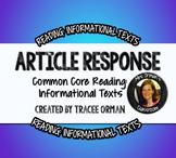 Close Reading Questions: Nonfiction Articles Common Core Aligned