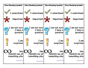 Close Reading Symbols