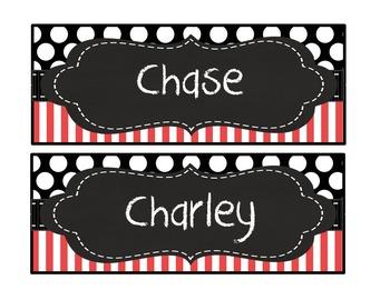 Editable Red black stripe polka dot quatrefoil chalk deskp