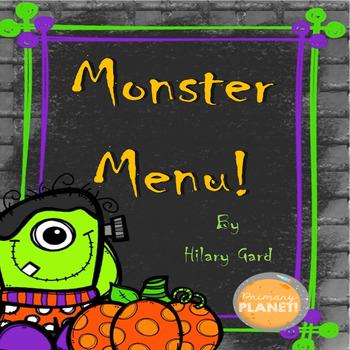 Halloween Poem/Writing Activity/Monster Menu