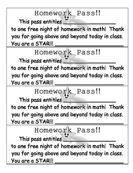 Free homework pass for students