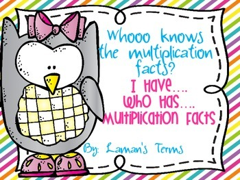 I Have Who Has Multiplication Facts Game, Owls and neon stripe