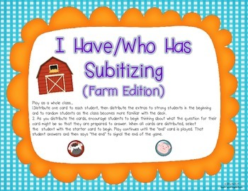 I Have/Who Has {Subitizing Farm Edition}