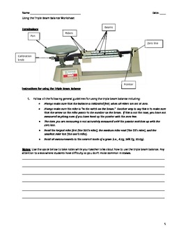 Triple Beam Balance Parts Worksheet - klejonka
