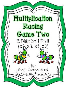 Multiplication Racing Game Two~2 Digit by 1 Digit {x6, x7,