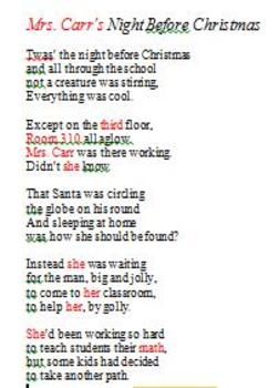 Night Before Christmas Teacher Poem