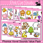 Phonics Vowel Sounds Clip Art Value Pack - Personal or Com
