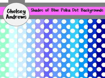Polka Dot Shades of Blue Backgrounds {Commercial or Personal Use}