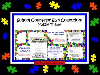 School Counselor Sign Collection: Puzzle Theme