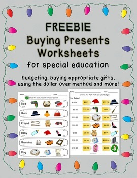 Christmas/Holiday Shopping Worksheets for FREE - Breezy Special Ed