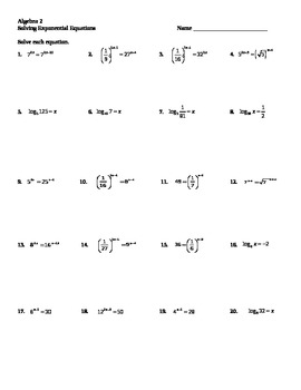 Solving Exponential And Logarithmic Equations Worksheet - Delibertad