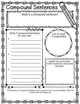 Compound Sentences Graphic Organizer