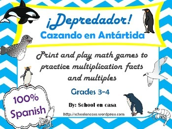 ¡Depredador! Antarctica Printable Multiplication Games in Spanish