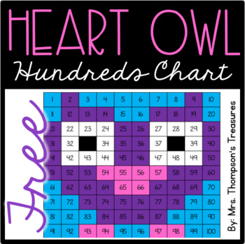 FREE Valentine's Day Heart Owl Hundreds Chart Mystery Picture