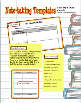NOTE TAKING TEMPLATES - TeachersPayTeachers.com