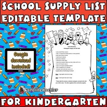 School supply list example for kindergarten teacherspayteachers com