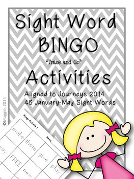 """Sight Word Bingo """"Trace and Go"""" Activities Aligned to Jour"""
