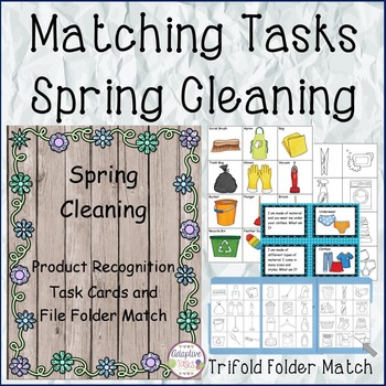 Spring Cleaning Product Recognition Task Cards and File Fo