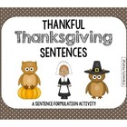 Thankful Thanksgiving Sentences for Sentence Formulation