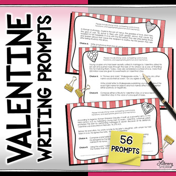 Valentine Writing Prompts: Task Cards (Grades 7, 8, 9)