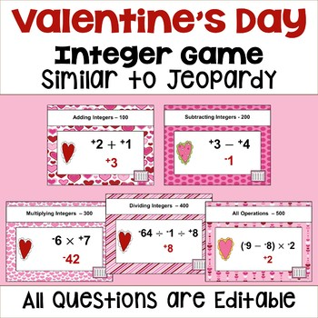 Valentine's Day Integer Game - Similar to Jeopardy